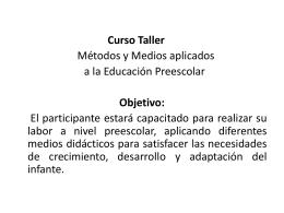 Curso-Taller: Métodos y medios aplicados a la educación preescolar