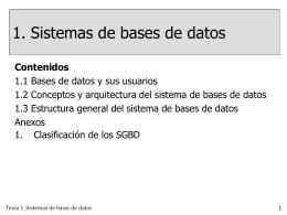 SISTEMAS DE BASES DE DATOS - Departamento de Informática y