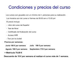 Condiciones y precios del curso