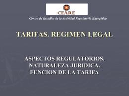 TARIFAS. REGIMEN LEGAL