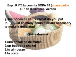 Esp.I R1T3 la comida BOPA #5 (anaranjado) el 7