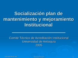 Socialización PMM 2005 - Vicerrectoría de Docencia