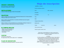 Hoja inscripción Campus Futbol - Mercedarias de la Caridad, Vitoria