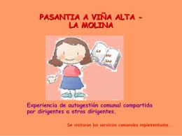 PASANTIA A VIÑA ALTA - LA MOLINA Experiencia de autogestión