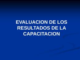 EVALUACIÓN DE LA CAPACITACIÓN