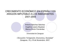 Crecimiento económico en España y en Aragón imputable a los