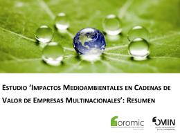 estudio `impactos medioambientales en cadenas de valor de