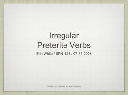 Irregular Preterite Verbs