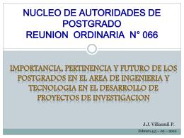 Importancia, pertinencia y futuro de los Postgrados en el área de