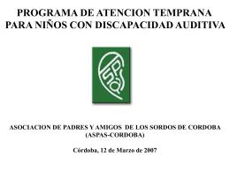 PROGRAMA DE ATENCION TEMPRANA PARA NIÑOS CON