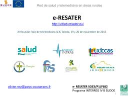 Réunion de préparation e-RESATER Phase 2 de la candidature