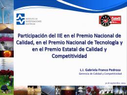 Participación del IIE en el Premio Nacional de Calidad, en el Premio