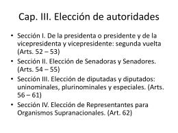 Cap. III. Elección de autoridades