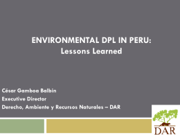 ENVIRONMENTAL DPL IN PERU