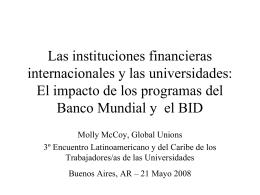 Las instituciones internacionales y la educación superior