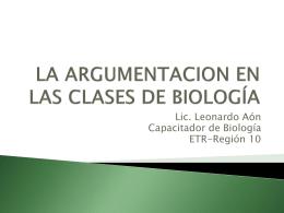 LA ARGUMENTACION EN LAS CLASES DE BIOLOGÍA - CIIE-R10
