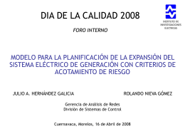Modelo para la Planificación de la Expansión del Sistema Eléctrico