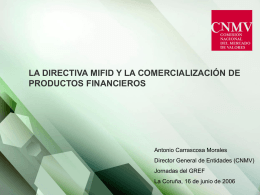 I. COMERCIALIZACIÓN DE PRODUCTOS FINANCIEROS