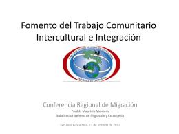 Fomento del Trabajo Comunitario Intercultural e Integración