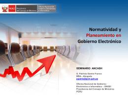 Normatividad y Planeamiento en Gobierno Electrónico