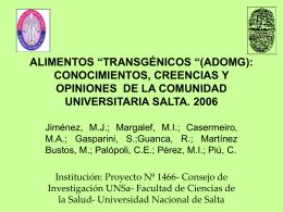 """ALIMENTOS """"TRANSGÉNICOS """"(ADOMG): CONOCIMIENTOS"""