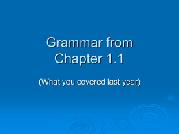 Grammar from Chapter 1.1 - Mounds View School Websites