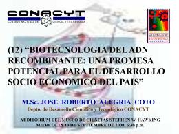 adn recombinante - Consejo Nacional de Ciencia y Tecnología