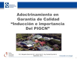 """""""Inducción e importancia del PIGCN""""."""