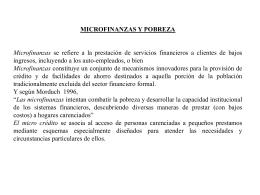 MICROFINANZAS Y POBREZA