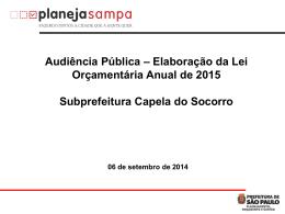 – Audiência Pública – Capela do Socorro
