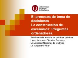 Construcción de escenarios - Universidad Nacional de Quilmes