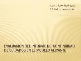 Evaluación de la continuidad de cuidados en el Modelo Alicante