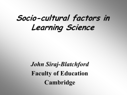 Socio-cultural factors in Learning Science
