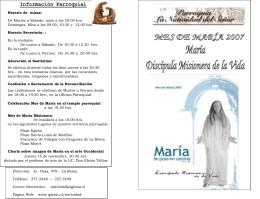 JUEVES 8 DE NOVIEMBRE Inicio Mes de María en el Templo