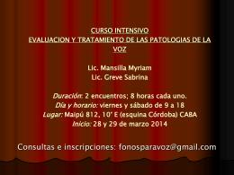 curso intensivo evaluacion y tratamiento de las patologias de la voz