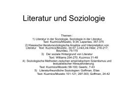 Literatur und Soziologie - Abteilung für Vergleichende