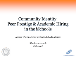 Community Identity: Peer Prestige & Academic Hiring in the iSchools