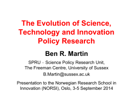 The evolution of science, technology & innovation policy