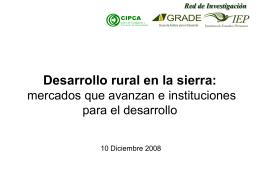 Desarrollo rural en la sierra - Consorcio de Investigación Económica