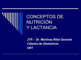 CONCEPTOS DE NUTRICIÓN Y LACTANCIA