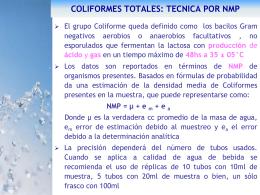 coliformes totales: tecnica por nmp