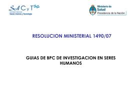 resolucion 1490/07 - Comisión Nacional Salud Investiga