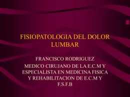 Fisiopatología del dolor lumbar
