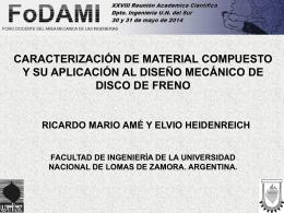 Caracterización de material compuesto y su aplicación al