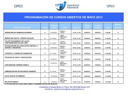 programación de cursos abiertos de mayo 2013