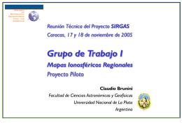 Mapas Ionosféricos Regionales – Proyecto Piloto