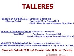 ANALISTA PROGRAMADOR IV.- Comienzo: 7 de febrero 2015