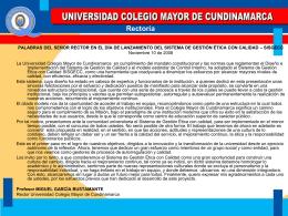 Rectoría - Universidad Colegio Mayor de Cundinamarca