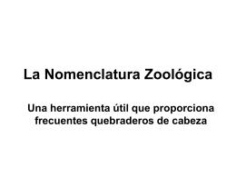 La Nomenclatura Zoológica