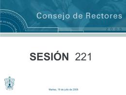 Presentación Sesion 221 - Consejo de Rectores